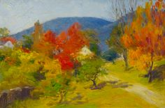 Gorgeous color captured in Autumn Color by George L Nelson, 8x12 Oil on Board