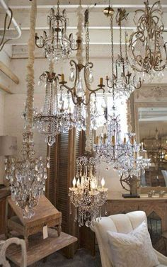 """Where there's light there's hope.""  Beautiful chandeliers of all shapes and sizes."