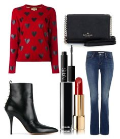 """Untitled #9542"" by ohnadine on Polyvore featuring Levi's, Burberry, Kate Spade, Chanel, NARS Cosmetics and Valentino"