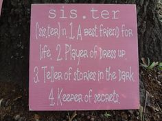 Sister Hand Painted Sign, Great for a little girls bedroom