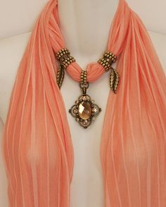 Peach Pastel Scarf Jewelry Pendant Scarves by RavensNestScarfJewel, $25.00 Scarf Rings, Scarf Necklace, Fabric Necklace, Scarf Jewelry, Fabric Jewelry, Ribbon Jewelry, Diy Necklace Display Stand, French Silk, Diy Jewelry Making