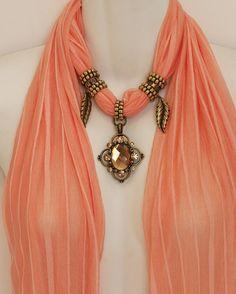Peach Pastel Scarf Jewelry Pendant Scarves by RavensNestScarfJewel, $25.00