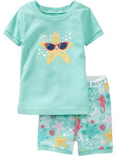 Starfish-Graphic PJ Sets for Baby