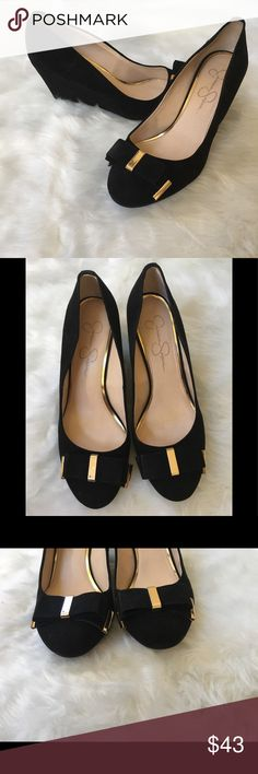 Jessica Simpson Bow Wedge Pump Excellent used condition | Faux suede, some small imperfections that are barely noticeable. Beautiful shoes | Gold hardware on bows and back of heel | Please pay attention to photos for condition | Fair offers only please Jessica Simpson Shoes Wedges