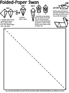 """1. Use Crayola® crayons, colored pencils, or markers to decorate the square's front and back with colorful art before you fold your swan!  2. Fold the sides into the center line as shown. This is called a """"kite fold."""" Then flip the paper over to the back.  3. Fold the sides in again.  4. Now fold up the bottom point to form the neck. To make the head, fold the point partially down as shown in A above. Then fold the entire shape in half, as shown in B.  5. Pull the neck and head ..."""