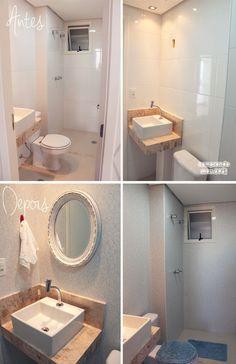 Antes e Depois do meu lavabo | Laminado de alta pressão www.comprandomeuape.com.br