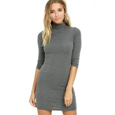 Phenomenal Feeling Grey Long Sleeve Bodycon Dress ($38) ❤ liked on Polyvore featuring dresses, grey, long sleeve dress, long sleeve turtleneck, grey long sleeve dress, long-sleeve turtleneck dresses and body con dress