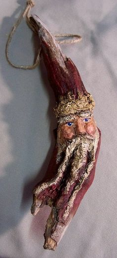Driftwood & Papier Paper Mache Santa Claus Ornament Sculpture - Folk Art - Drift Wood Christmas Decoration Old World Santa Claus