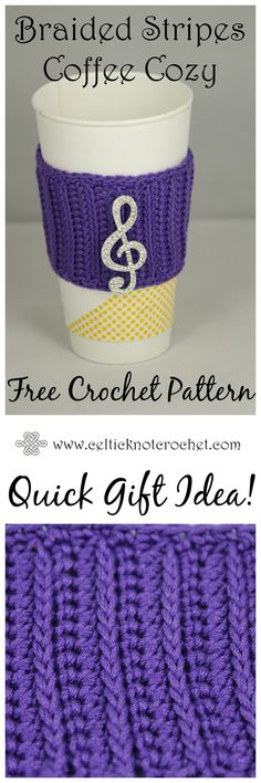 Braided Stripes Coffee Cozy - Celtic Knot Crochet
