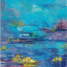 """Original abstract painting - water lilies in blue and yellow, 12"""" X... ($65) ❤ liked on Polyvore"""