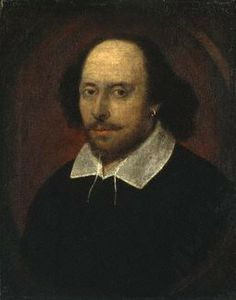 The Chandos Portrait supposedly of Shakespeare - but I have a book that seems to indicate this MIGHT have been Kit Marlowe...  http://artsology.com/shakespeare_portraits.php