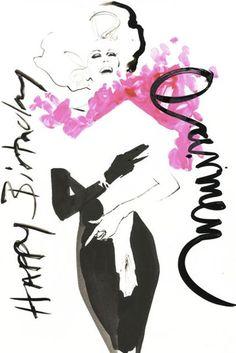 Illustration - Carmen Dell'Orefice turns 80 today, by David Downton, Vogue UK Carmen Dell'orefice, Francesco Scavullo, Richard Avedon, Figure Drawing, Line Drawing, Drawing Faces, Drawing Tips, Drawing Ideas, Salvador Dali