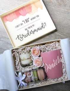 30 Will You Be My Bridesmaid Proposal Gift Ideas The big question was popped—you slid that ring on your finger and popped champagne to celebrate. Soak it in, then put down your glass because you have a Bridesmaid Gifts From Bride, Bridesmaid Gift Boxes, Bridesmaid Proposal Gifts, Bridesmaids And Groomsmen, Bridesmaid Gifts Will You Be My, Ask Bridesmaids To Be In Wedding, Brides Maid Gifts, Groomsmen Proposal, Bridesmaid Makeup
