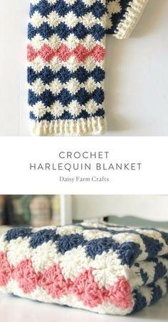 Free Pattern - Crochet Harlequin Blanket - Carola Free Pattern - Crochet Harlequin Blanket - Knitting works add time when ladi. Beau Crochet, Crochet Diy, Crochet Afghans, Baby Blanket Crochet, Crochet Blankets, Crochet Ideas, Baby Afghans, Crochet Blanket Stitches, Crochet Christmas Blanket