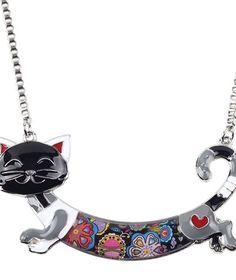 Alloy Enamel Cat Choker Necklace Chain