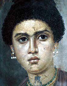 Image of a mummy portrait of a young woman dating from the Roman period. The lives of Tawe, the  Dancer and her twin sister Taous are known from a remarkable series of papers written in Greek and Egyptian during the middle years of the second century BC.