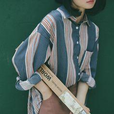 2016 mùa thu Hàn Quốc đơn giản gió BF hoang dã mới lỏng áo sơ mi sọc cô gái đoạn…