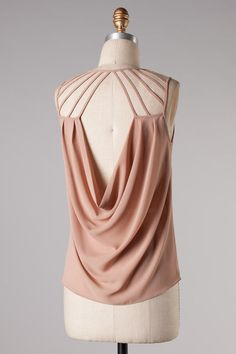 nude drape top  #swoonboutique This site has tons of cute backed tops!!