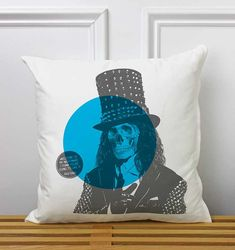 Decorative Pillow Alice Cooper Skull Blue Chair by brokenasphalt
