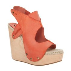 FIORE – HAND BURNISHED LEATHER WOODEN WEDGE SANDALS-6.5-BLACK from Max Studio on Catalog Spree