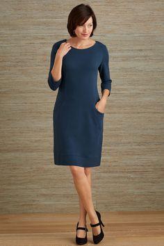 Fair Indigo Princess Seam Organic Fair Trade Pocket Dress - Dresses - Women