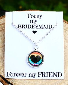 A personal favourite from my Etsy shop https://www.etsy.com/uk/listing/525980089/bridesmaid-gift-necklace-chevron-rainbow