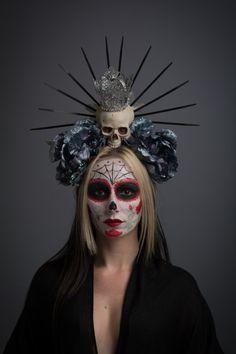 Virgin Mary Day of the Dead Headdress Our Lady Guadalupe Dark Blue Flower Crown Skull Dia de los Muertos Headpiece Gothic Glitter Headwear