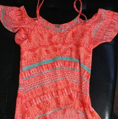 - NeON- adorable off shoulder orange tunic Super pretty  Hi-low cute Size S Can fit a medium too! Semi sheer.  Festival top!:) Charlotte Russe Tops Tunics