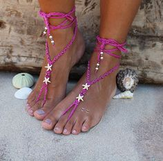 574c38afd Bohemian Barefoot Sandals Star Fish Foot Jewelry Beach Sandals Hemp Macrame  Sandals Ankle Wrap African Sandals Hot Pink shoes