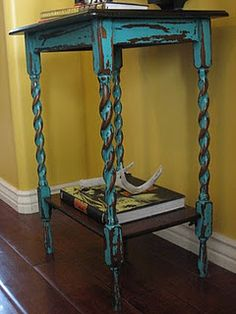 Turquoise Twisty Table - great detail highlighted by the distress