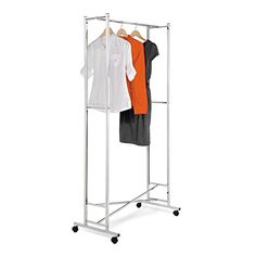 HoneyCanDo GAR01268 Deluxe Collapsible Garment Rack on locking Casters Chrome Finish *** Details can be found by clicking on the image.