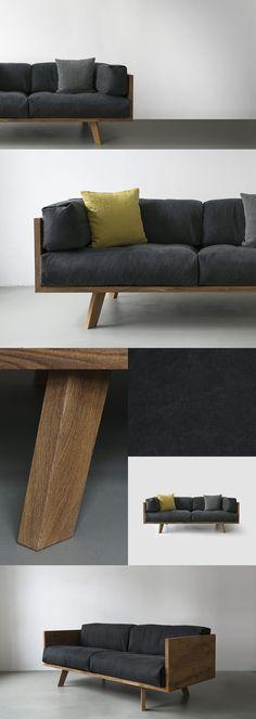 Oak Linen Sofa by NUTSANDWOODS