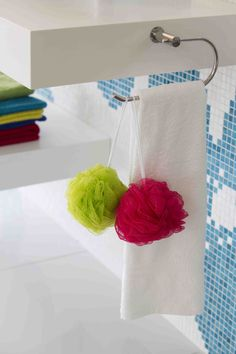 Bath scrunchies in colours are great for a family and create a playful atmosphere Family Bathroom, Bright Colours, House Colors, Scrunchies, Color Pop, Create, Inspiration, Light Colors, Biblical Inspiration