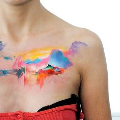 watercolor landscape tatt by dopeindulgence.deviantart.com on @DeviantArt
