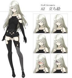NieR:Automata A2立ち絵 Nier: Automata Nier hair human hair color anime cartoon mangaka long hair black hair