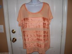 Cato Orange Ruffle Front Top Size 22/24W NWOT #Cato #Blouse #Casual