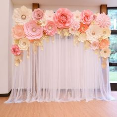 Wedding backdrop ft for rent ( Seattle). Please PM for bookings🌸 Paper flower backdrop with fairy lights. Pink, grey, white, champagne, and ivory paper flowers with gold leaves. Pleasant quinceanera decorations navigate to this site No photo descriptio Baby Girl Shower Themes, Girl Baby Shower Decorations, Babyshower Themes For Girls, Girl Baby Shower Cakes, Girl Baby Showers, Ballerina Baby Showers, Shower Baby, Baby Shower Flowers, Floral Baby Shower