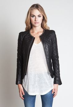 Perfect casual yet chic outfit, quilted Leather Jacket.