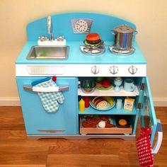 Blue Retro Kitchen Playkitchen Kids Toddlers Pretendplay