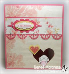 Art Impressions Rubber Stamps: Hi Hunny Bunny! Ai Mini Front & Backs Bunny & Ducky Mini Set (sku 4404) window card.  Could be for Easter or just to say hi to someone you love.