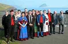 Faroese folk dance club with some members in national costumes