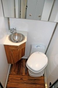 Wash Room Wet Bath with Stainless Steel Sink and Shower Thetford® Cassette Toilet Teak Medicine Cabinet with Mirror