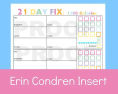 21 day fix printable sheets for your Erin Condren Life Planner  21 day fix meal plan