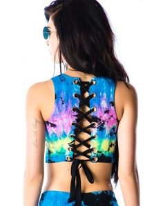 Lip Service Venice Tie Dye Corset Crop Top | Dolls Kill