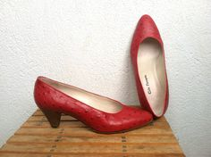 Cele Ferrario Vintage Red Small Heel Shoes by BlastFromThePastBags, $68.00