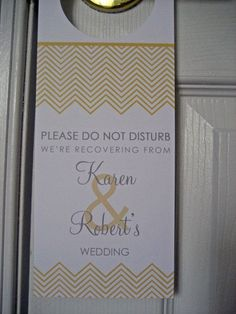 Wedding Door Hangers  - Set of 10 - Chevron Stripes - Great for OOT Bags
