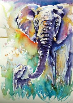 Buy Majestic elephant with baby - perfect gift idea, Watercolour by Kovács Anna Brigitta on Artfinder. Discover thousands of other original paintings, prints, sculptures and photography from independent artists.