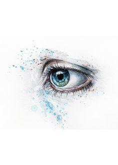 The eye, I see you, tear, sorrow, sadness, Mirror of the Soul, beauty, fantasy art, drawing
