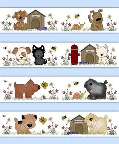 Puppy Dog Wallpaper Border Wall Decals for baby girl or boy nursery and children's bedroom decor. All kinds of puppies romping in the flowered meadow with added bees, flies, and butterflies. Added dog houses and a fire hydrant #decampstudios
