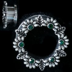 PAIR-Stainless Steel LEAF and FLOWERS W/ Green CZ Gems-EAR GAUGES-EAR PLUGS - So Scene